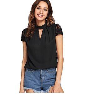 Elegant Lace Short Sleeve Sexy Keyhole BlouseShirt